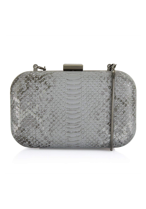 Caprese London Clutch Metallic Grey