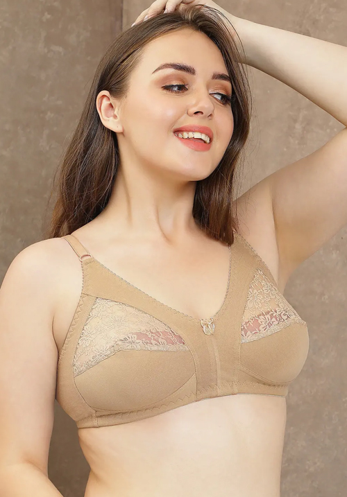 Clovia Cotton & Lace Non-Padded Bra