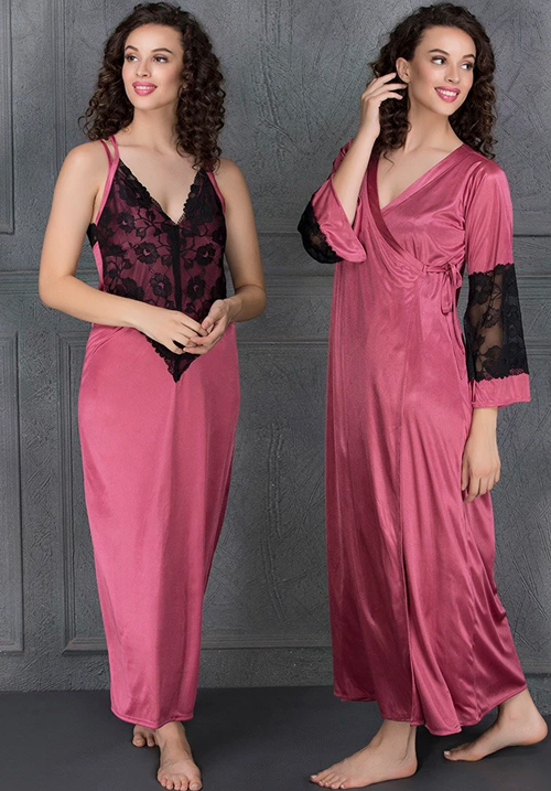 Clovia Satin Long Nighty & Robe Pink