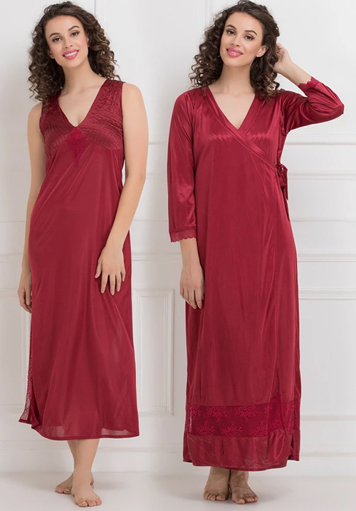 Clovia Satin Long Nighty and Robe Maroon