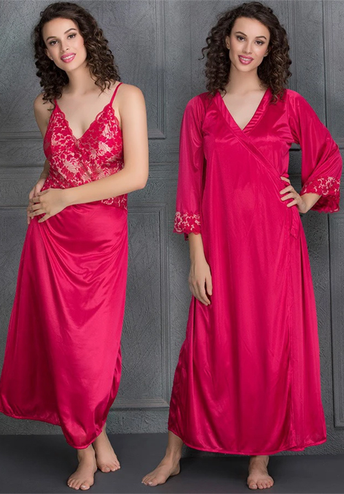 Clovia Satin Long Nighty and Robe