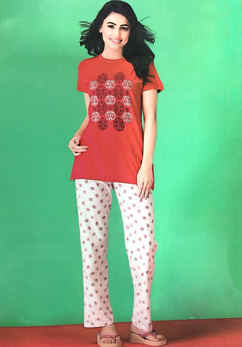 Dot and Print Pyjamas Night Suit