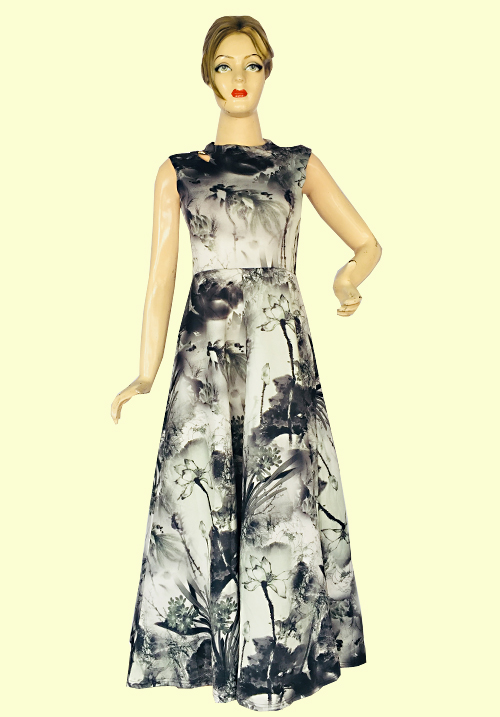 Miss U Grey Flower Evening Gown