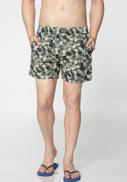 Jack & Jones Green Trees Print Boxer
