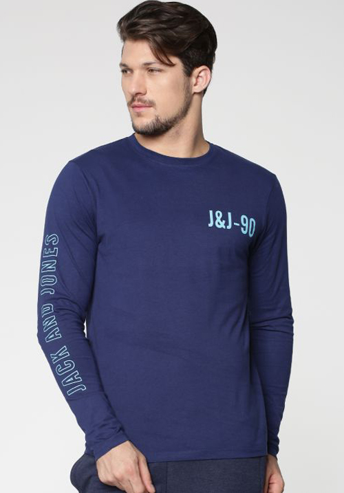 Jack & Jones Blue Full Sleeves T-Shirt