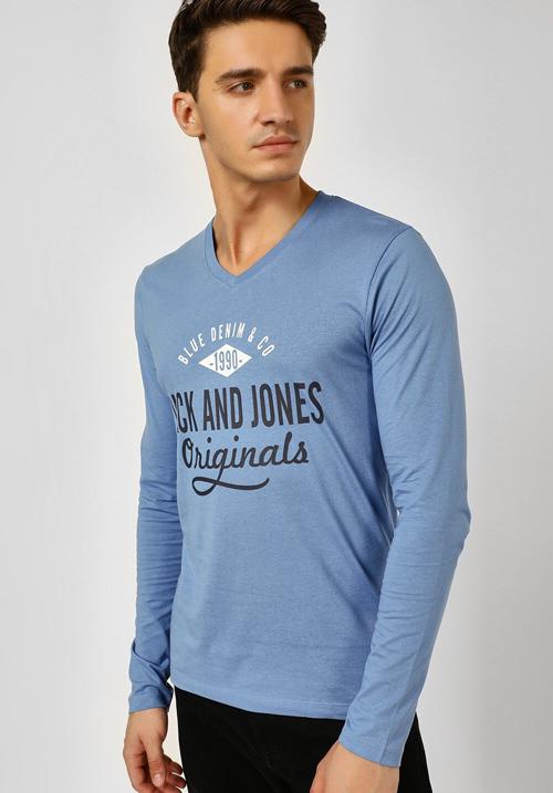Jack & Jones Blue Full Sleeves T-Shirt