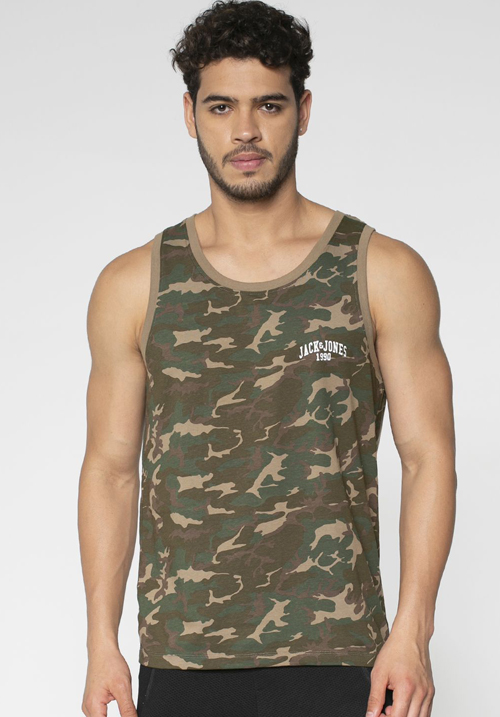 Jack & Jones Green CAMO Printed Vest