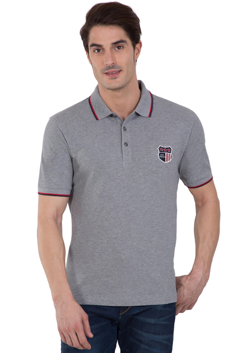 Jockey Wordly Grey Polo T-Shirt 3912