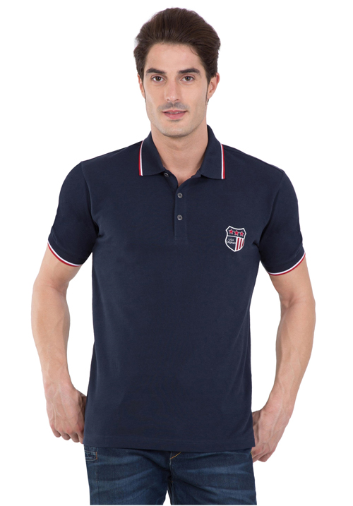 Jockey Wordly Navy Polo T-Shirt 3912