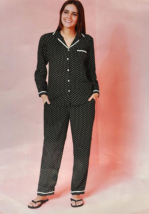 July Black Polka Dotes Lower Night Suit