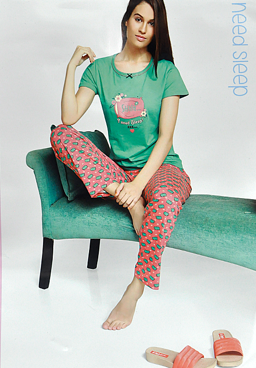 July Green Printed Lower Night Suit