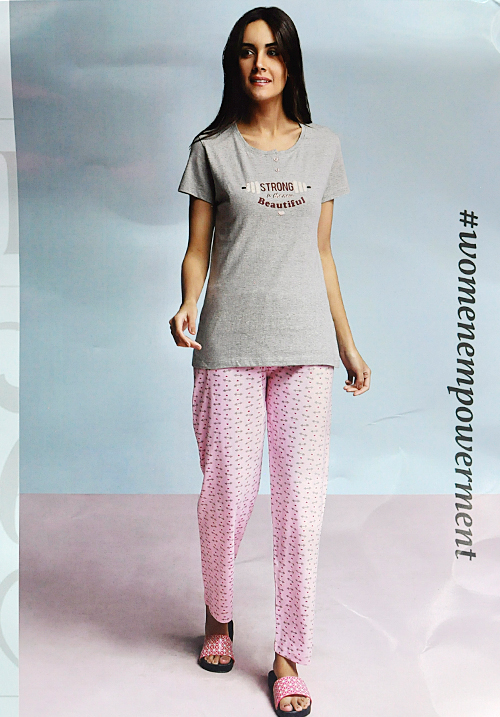 July Grey and Pink Lower Night Suit PC358