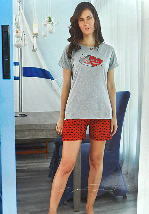 july grey and red shorts night suit PC-494