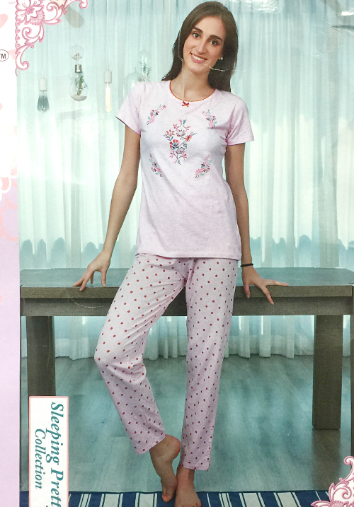 July Pink Printed Lower Night Suit PC468