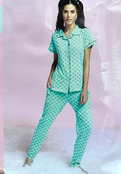 July Mint Printed Lower Night Suit
