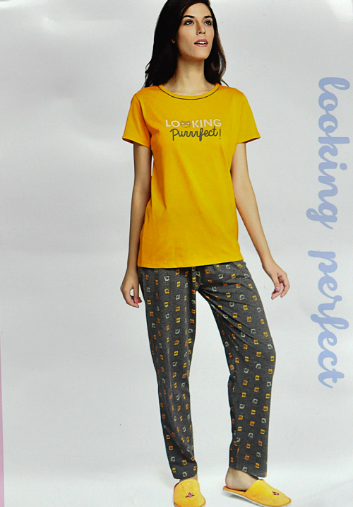 July Yellow and Grey Lower Night Suit
