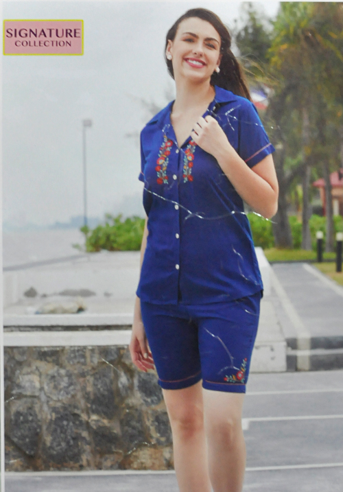 July Blue Solid Shorts Night Suit WPC145
