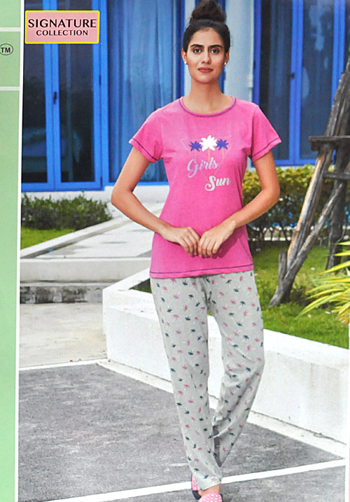 July Pink and Moube Lower Night Suit PC453