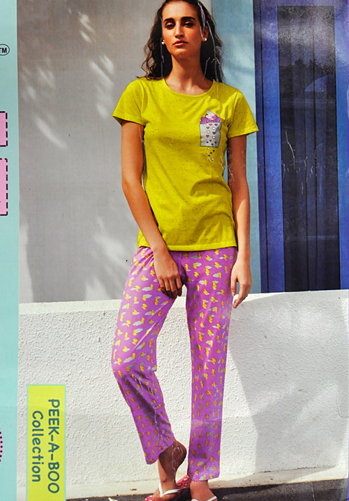 July Yellow and Pink Lower Night Suit PC477