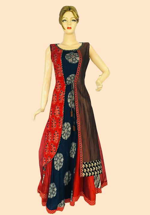 Anora Red-Navy Printed Dress