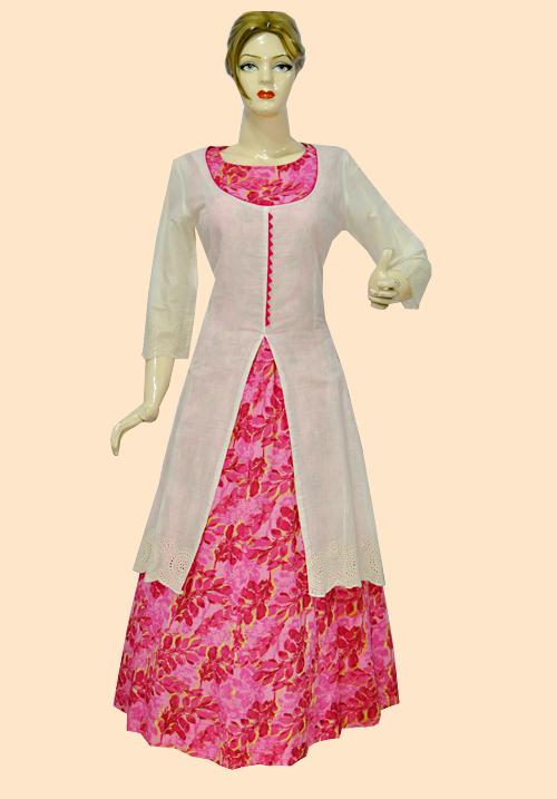Anora Pink Flower Print Kurti