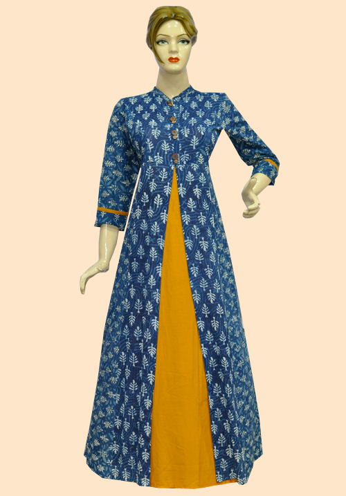 Anora Blue Printed Floor Touch Dress