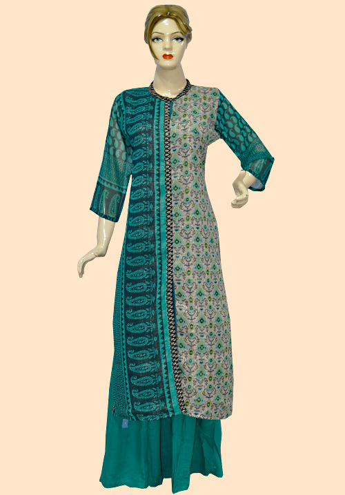 Anora Sea Green Printed Kurti