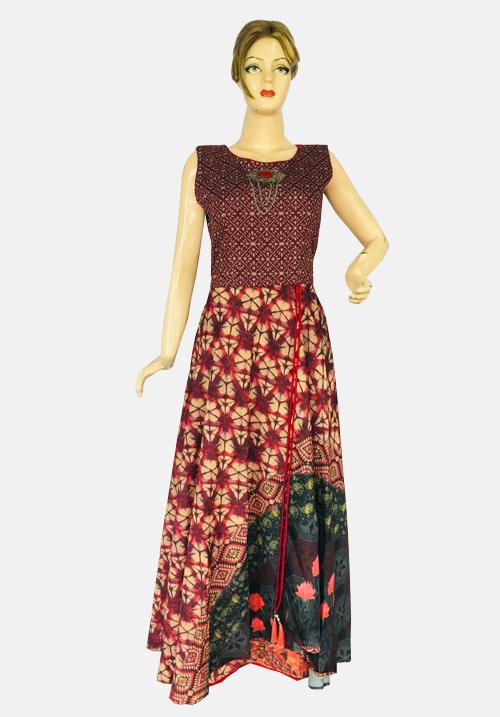 Anora Maroon-Brown One Piece Dress