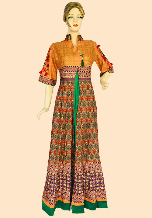 Anora Green-Orange Party Dress