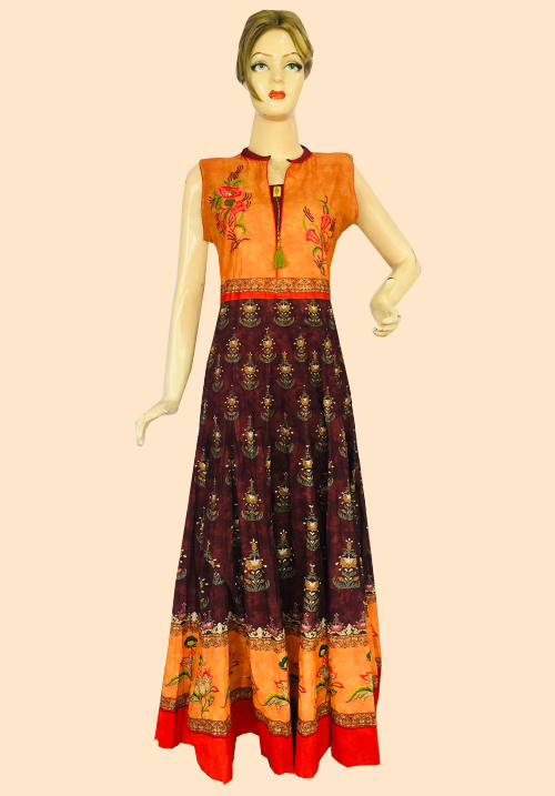 Anora Orange Printed Floor Touch Dress