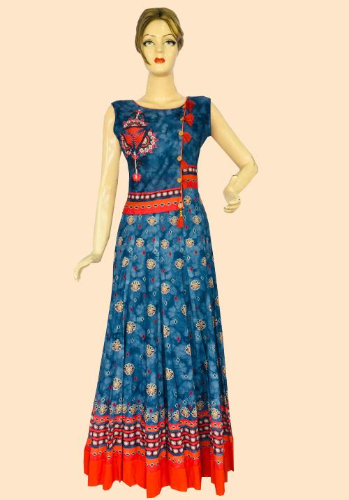 Anora Blue-Orange One Piece Dress