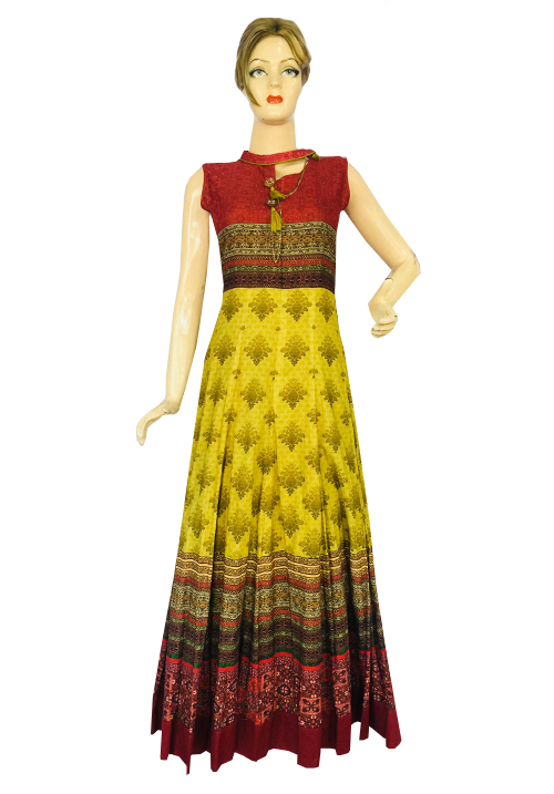 Anora Maroon-Yellow One Piece Dress