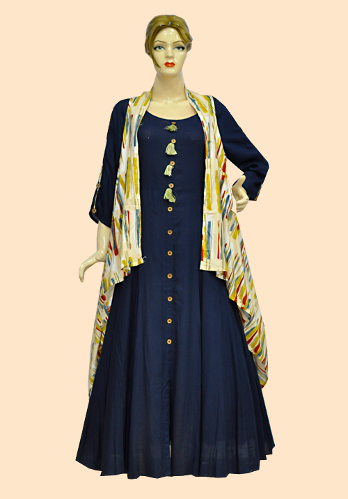 Anora Blue Yellow Floor Touch Dress