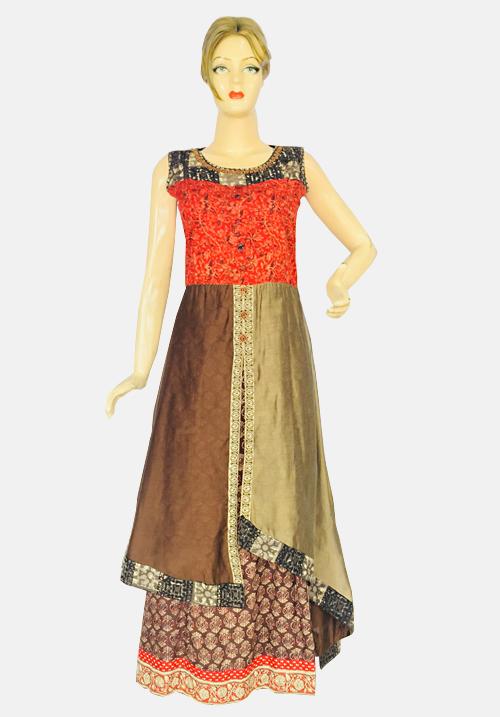 Anora Light Brown Printed Dress