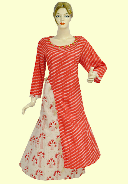 Anora Red and Skin Kurti