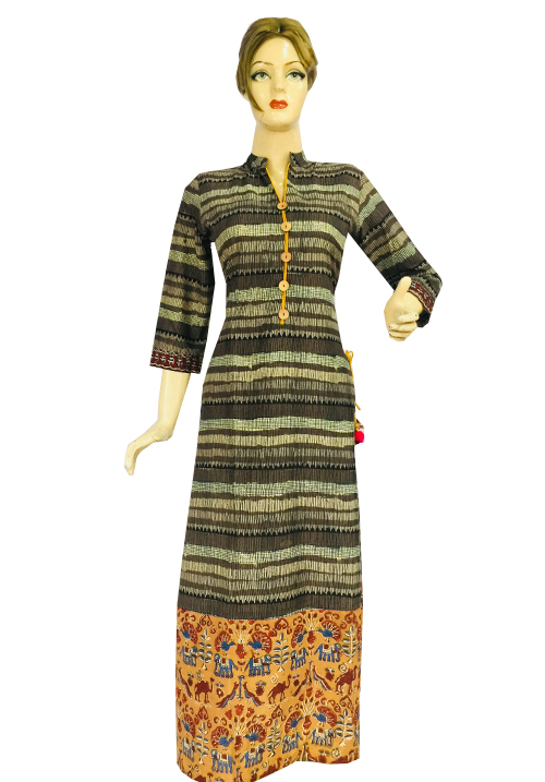 Anora Brown Bottom Printer Dress