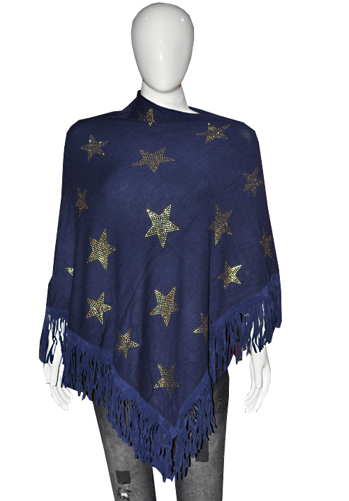 Essentials Woolen Star Print Ponchu