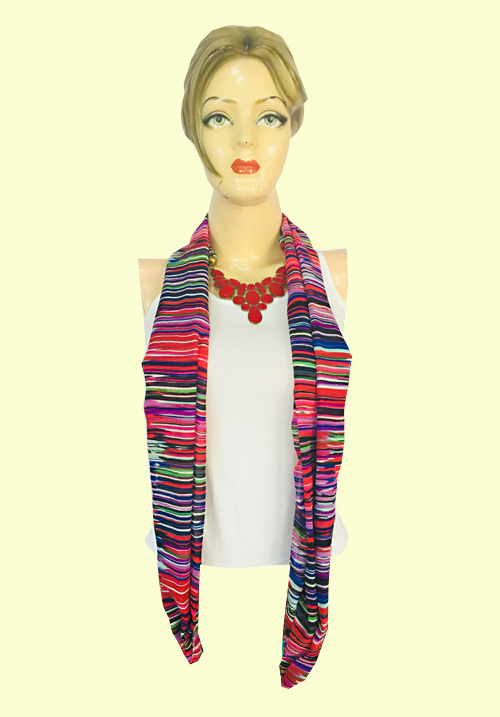 Kazumi Line Printed Pink Stole