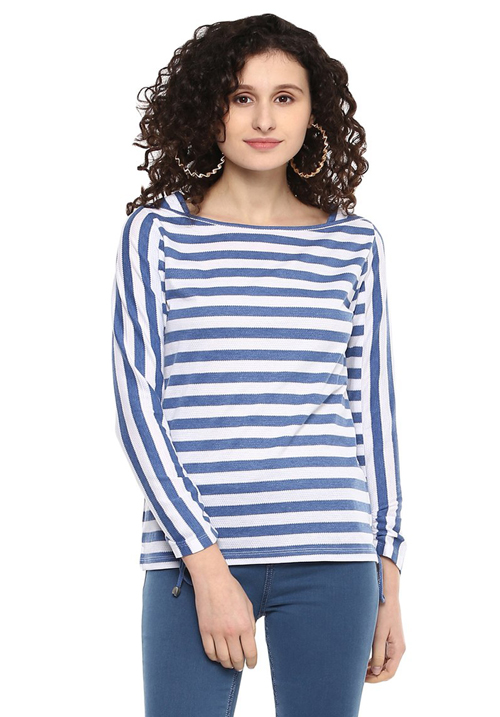 Moda Elementi Striped Boat Neck