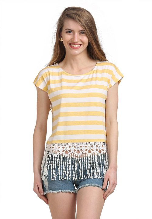 Moda Elementi Striped Casual Top