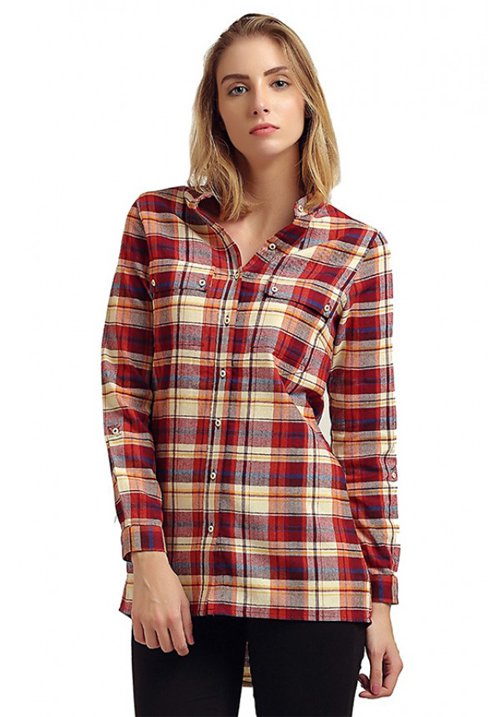 Moda Elementi Full Sleeves Shirt Red
